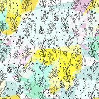 Naadloze bloemmotief. Kruiden en wilde bloemen worden afgedrukt. vector