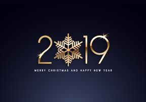 2019 Vakantie Vector groet illustratie met gouden nummers.