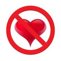 Verbied liefdehart. Symbool van verboden en stop liefde