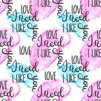 Romantisch citaat naadloos patroon. Love tekstprint voor valentijn dag. Hand belettering typografie ontwerp