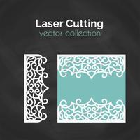 Laser gesneden kaart. Sjabloon voor snijden. Knipsel Illustratie.