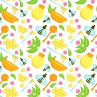 Naadloos patroon met de reeks van de honingsillustratie. Bee vector ontwerp. Natuurlijke organische elementen. Cartoon honingraat. Verzameling van platte wijnbouw. Lepel met mede.