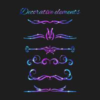 Vector bloeit. Verdelers instellen. Hand getrokken decoratieve wervelingen met Glitter. Kalligrafische decoraties met fonkelingen. Ruimte textuur. Gloeiend sterreneffect.