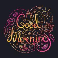 Goedemorgenposter met letters en ruimtetextuur.