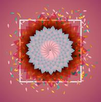 Kleurrijke bloemen met witte grens en bladeren, vectorillustratie