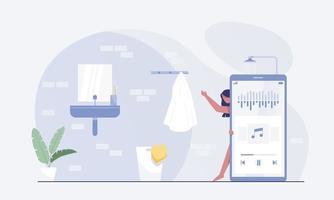 vrouwelijke personages nemen een douche en luisteren naar audiopodcasts. vector