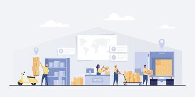 levering dienstverleningsconcept. magazijn logistiek of leveringskantoor. vector