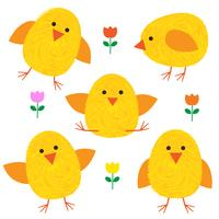 Thumbprint Easter Chicks en bloemen