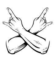 Rock gekruiste handen Vector