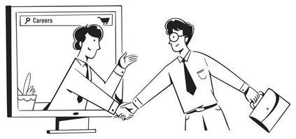 mensen die de hand schudden in een loopbaangesprek vector