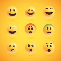 Gele realistische reeks emoticons, vectorillustratie