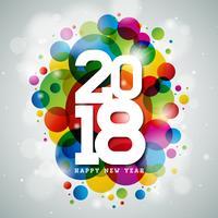 Gelukkig Nieuwjaar 2018 illustratie.