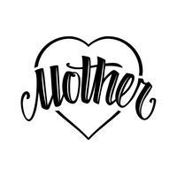 Moeder tatoeage stijl vector belettering