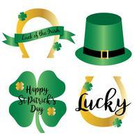 Saint Patricks dag verloop pictogrammen met goud