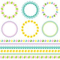 Pasen-cirkelkaders en grenzen vector
