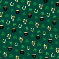 Saint Patrick's Day harp hoefijzer en klaver patroon vector