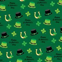 patrick's day hoed en hoefijzer patroon op groene achtergrond vector