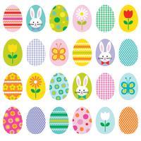 Pasen-cirkelpictogrammen met konijntjeskuikentje en bloemen vector
