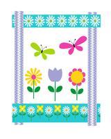 Paaskaart met bloemen en vlinders vector