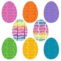 happy easter typografie eieren vector