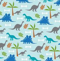 dinosaurus en palmboom achtergrondpatroon vector