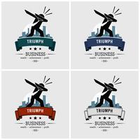 Succesvolle zakenman dabbing logo-ontwerp. vector