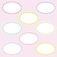 ovale geborduurde labelframes vector