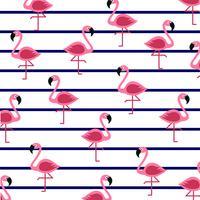Flamingo's op mariene strepen. vector