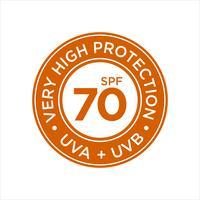 UV, zonwering, zeer hoge SPF 70 vector