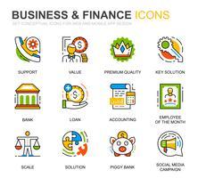 Eenvoudige set zakelijke en financiële lijn pictogrammen voor website en mobiele apps vector
