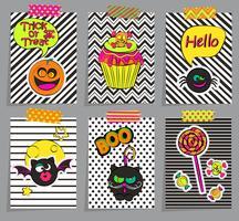 Set van stijlvolle halloween-kaarten. vector