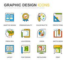 Eenvoudige set Web- en grafisch ontwerp Lijnpictogrammen voor website en mobiele apps vector