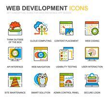 Eenvoudige set Web Disign en ontwikkeling lijn pictogrammen voor website en mobiele apps