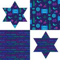Pascha patronen en Joodse sterren vector