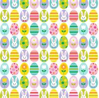 schattig paasei en en konijn achtergrondpatroon