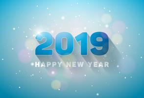 Gelukkig Nieuwjaar 2019 illustratie