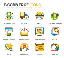 Eenvoudige set e-commerce en winkelen lijn iconen voor website en mobiele apps vector
