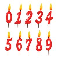 Set van rode verjaardag kaarsen. Numbers. vector