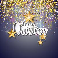 Merry Christmas belettering illustratie vector