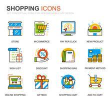 Eenvoudige set winkelen en e-commerce lijn iconen voor website en mobiele apps vector