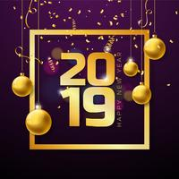 2019 Gelukkig Nieuwjaar illustratie