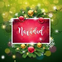 Kerst Illustratie met Feliz Navidad