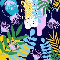 Tropische jungle bladeren en bloemen achtergrond. Kleurrijk tropisch posterontwerp vector