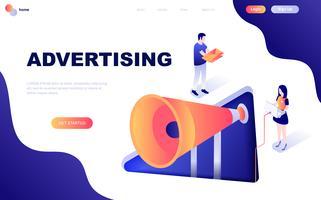Modern plat ontwerp isometrisch concept van reclame en promotie