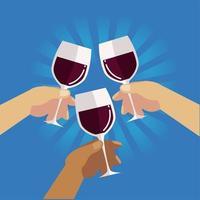 handen vieren met wijnglazen feest, proost vector