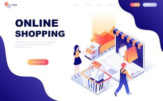 Modern plat ontwerp isometrisch concept van online winkelen