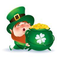 cartoon kabouter in groene hoge hoed vector