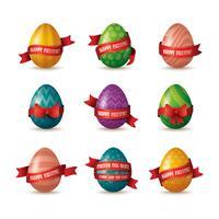 set van beschilderde eieren met linten vector