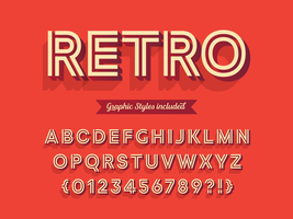 Vet 3D Retro alfabet vector
