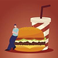 man en fastfood hamburger en frisdrank vector